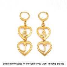 Anniyo, персонализированные серьги с буквами для женщин и девочек, Настраиваемые серьги с алфавитом, серьги в форме сердца, ювелирные изделия на заказ, подарки# 112721B