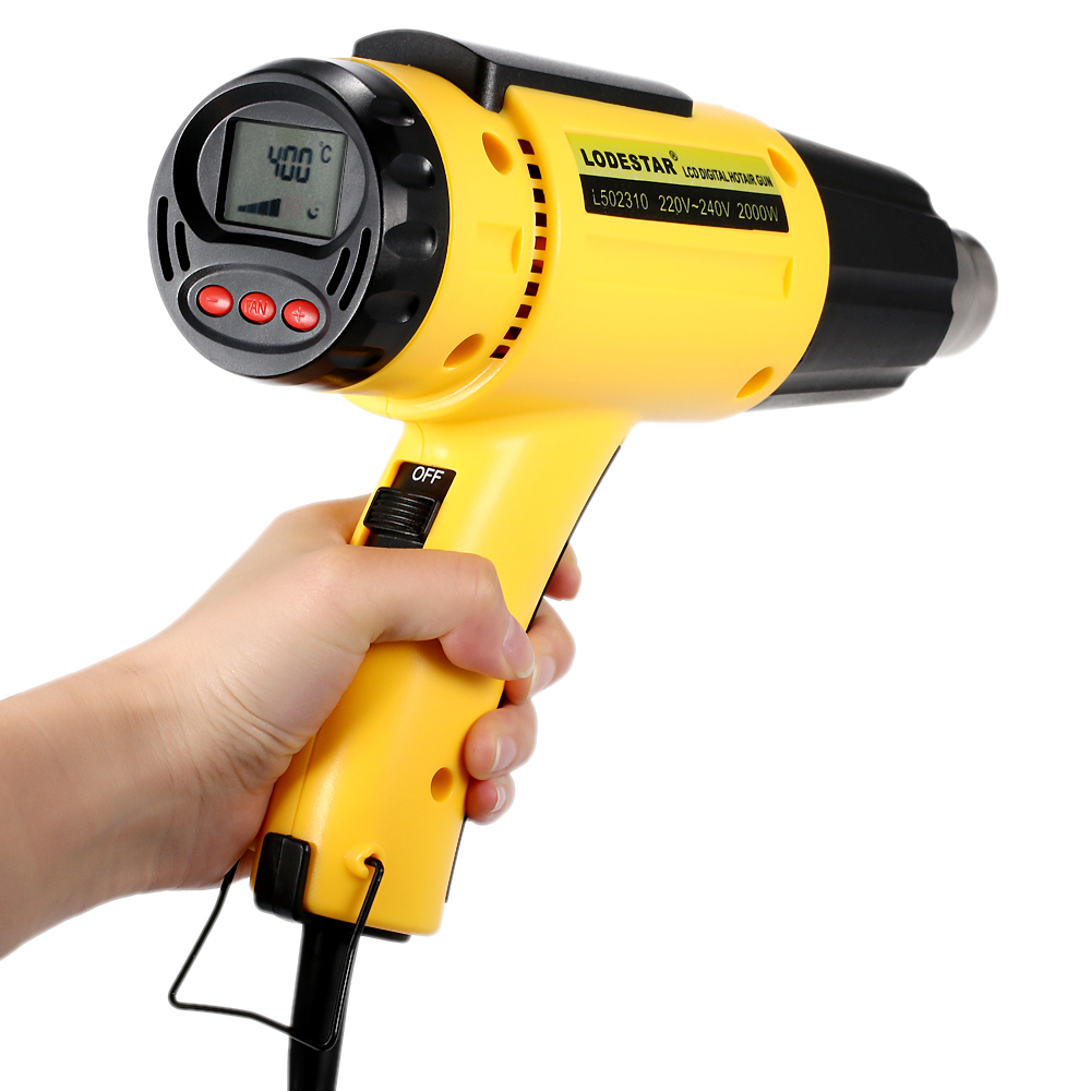 2000W AC220 Digital Electric Hot Air Gun Temperature-controlled Heat IC SMD Quality Welding Tools Adjustable + Nozzle 220v 50hz 1600w digital electric hot air gun temperature controlled heat ic smd quality welding tools adjustable air flow gun