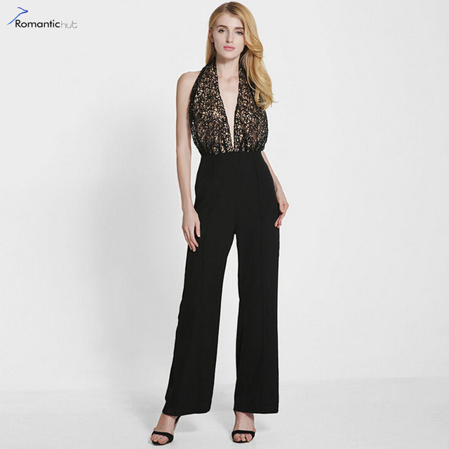 6cacce1d8a9c 2017 Spring Women Sexy Halter Neck Backless Leakage Jumpsuit Loosoe Casual  Elegant Ladies Rompers Lace Top