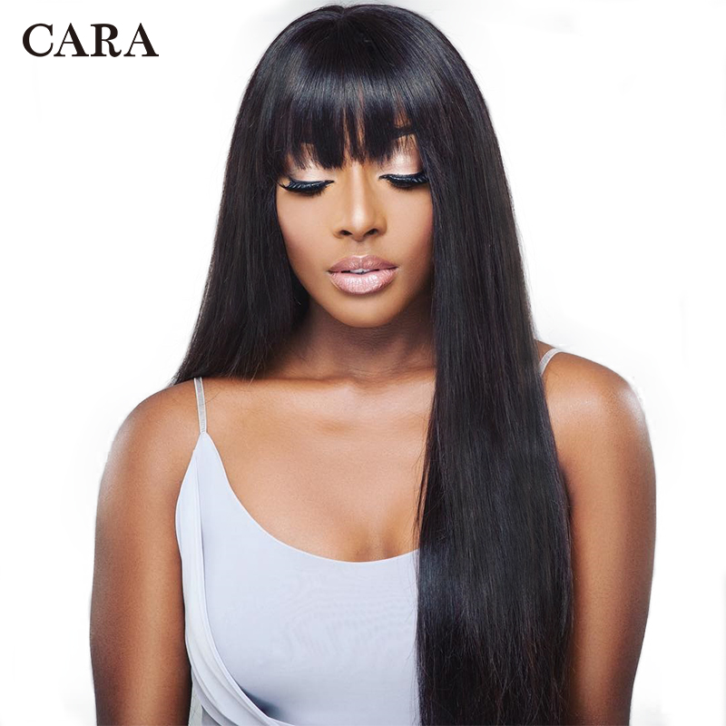 360 Lace Frontal Wig Pre Plucked With Baby Hair Brazilian Human Hair Bangs Wig Straight Lace Front Wigs 180% Density Remy CARA
