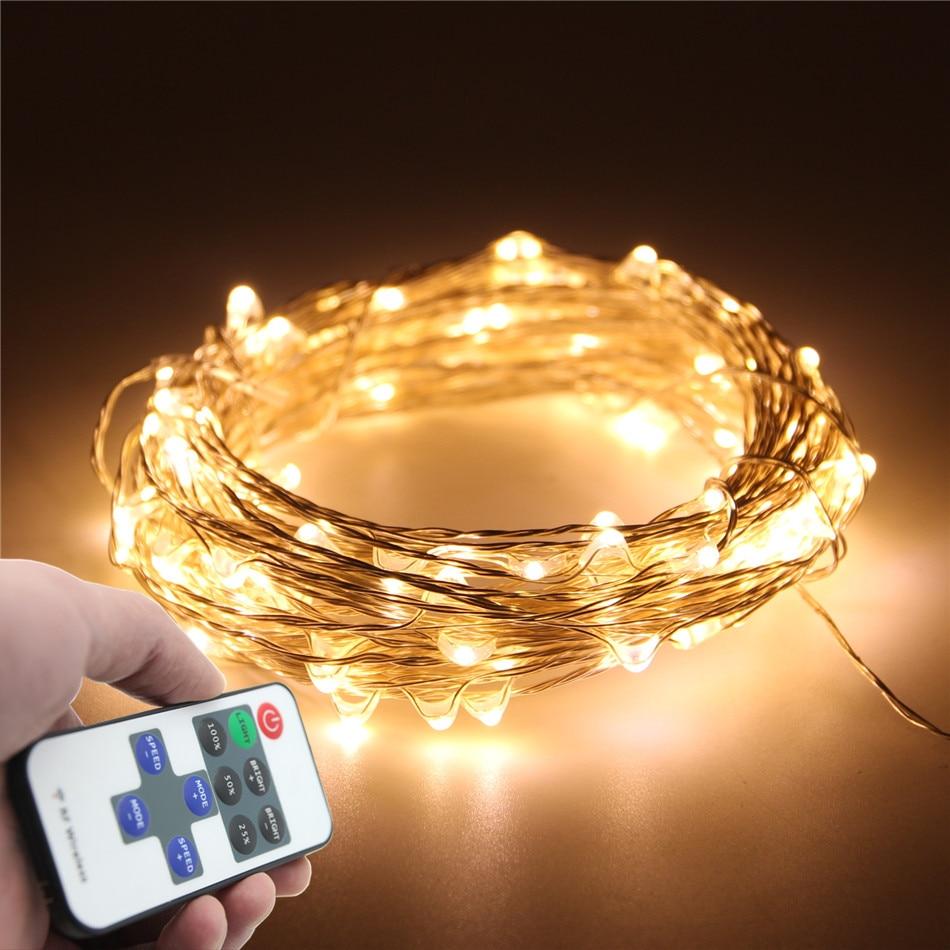Cheap String Lights Indoor: 33FT 10M 100LED 5M 50LED 5V USB LED String Silver Copper