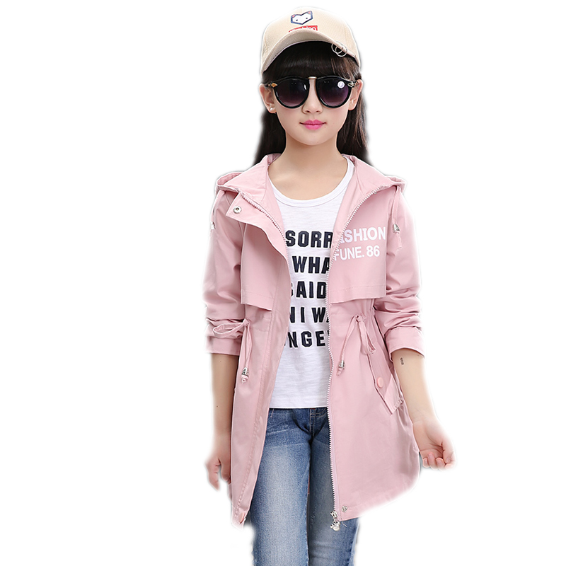 2018 spring long girls jacket children's clothing girl trench coat letter printed Teenager Cardigan hooded girl coat and jackets denim self tie waist long sleeves hooded trench coat