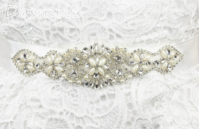 White Crystal Rhinestone Pearl Wedding Bridal Dress Belt Cummerbunds Waistband Girdle Accessories Women