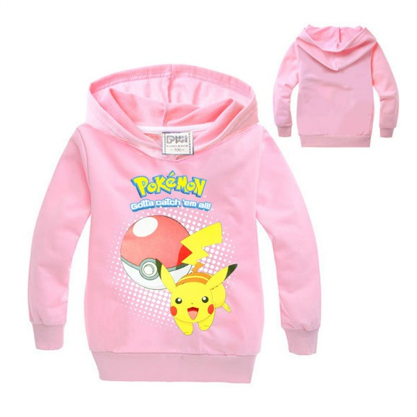 pokemon costume Hoodie toddler boys girls hooded pullover full sleeve tops children clothes pink black Size for 4 5 6 7 8 years (2)