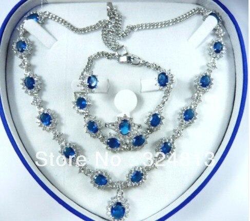 VENTE CHAUDE-Mode Nuptiale Bijoux Femmes Ensemble bleu Zircon Collier Boucle D'oreille Anneau Bracelet-Top qualité livraison gratuite