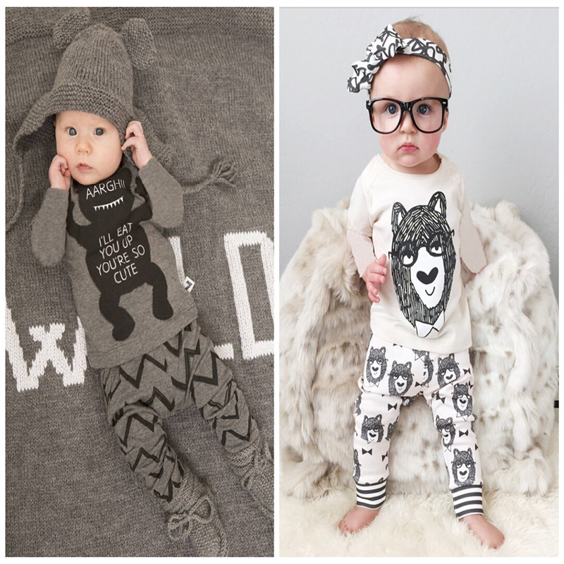 vestido cute Little Monster print baby boy/girls sets children blouse + pants set 0-2 toddler baby clothing