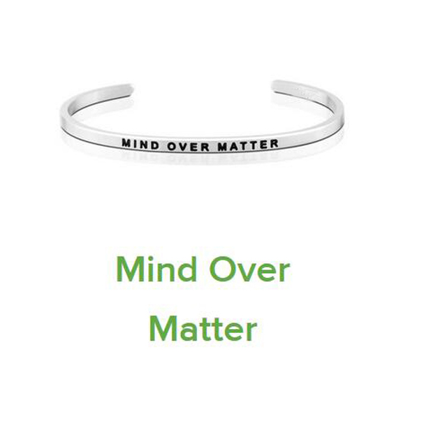 Stainless Steel Engraved Bangle Mind Over Matter Positive