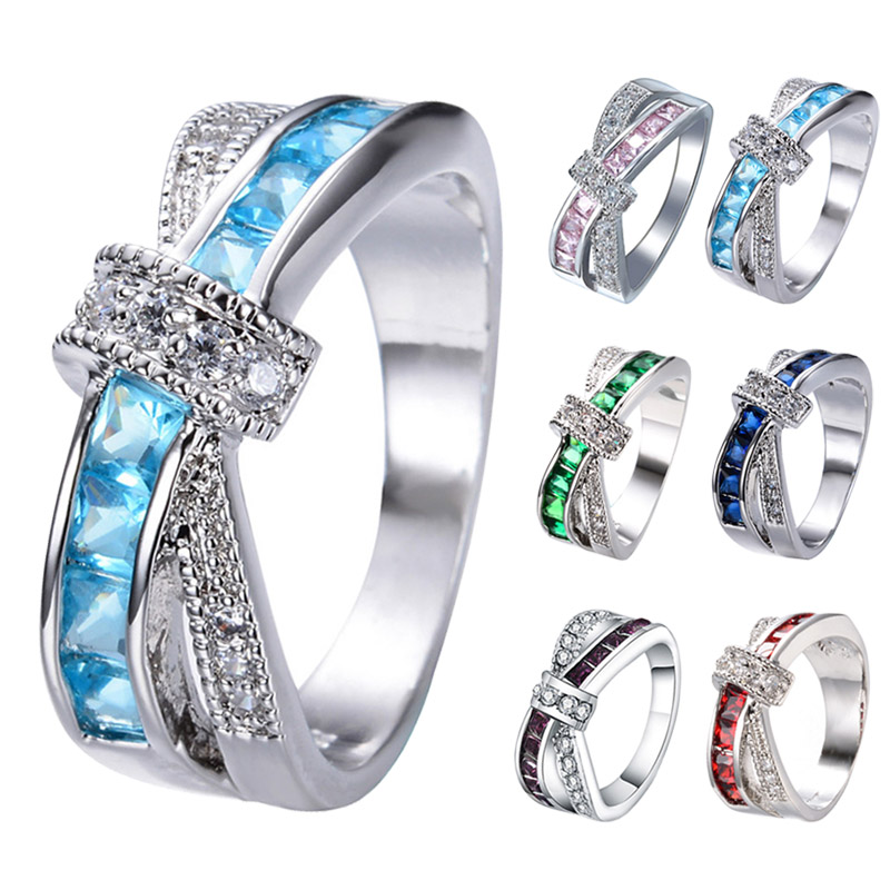 Women Lady Cross Crystal Finger Ring Zircon Luxury Wedding Engagement Rings Jewelry CX17