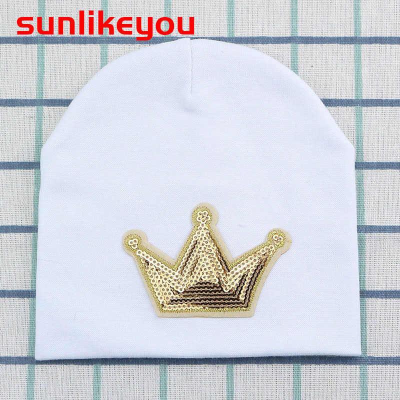 Sunlikeyou สินค้าใหม่ Unisex ทารกแรกเกิดฤดูหนาวหมวกเด็กหญิงเด็กหมวกมงกุฎเลื่อมผ้าฝ้ายเด็กนุ่ม Beanie หมวกสำหรับหญิง