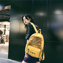Harajuku Clear transparent Canvas Women Backpacks Letter Sch