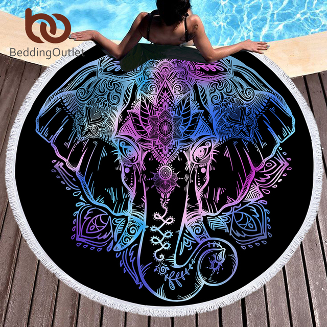 BeddingOutlet Bohemian Elephant Round Beach Towel Boho Indian Tassel Tapestry Floral Yoga Mat Lotus Flower Toalla Blanket 150cm