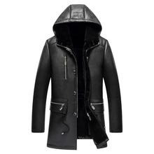 Men s Fur Coat Menfolk Shearling Jacket Winter Warm Hooded Parka Genuine Sheepskin Long Outerwear TJ8115