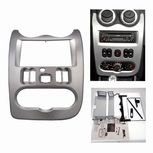 Image 2 - 2 din Car Radio Fascia for RENAULT Logan Sandero DACIA Duster Double din Radio Fascia Frame Adapter CD Panel Dash Trim Bezel