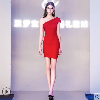 7c2f4232c6 US $62.01 39% OFF|Customized Women's New Sexy Elegant Slender Wedding Adult  Ceremony Party Company Annual Party Dress Short Dress -in Dresses from ...