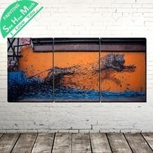 3 Шт. Абстрактный Бег Тигра Современного Искусства Стены Холст Картины Плакаты и Принты Обрамленная  Лучший!