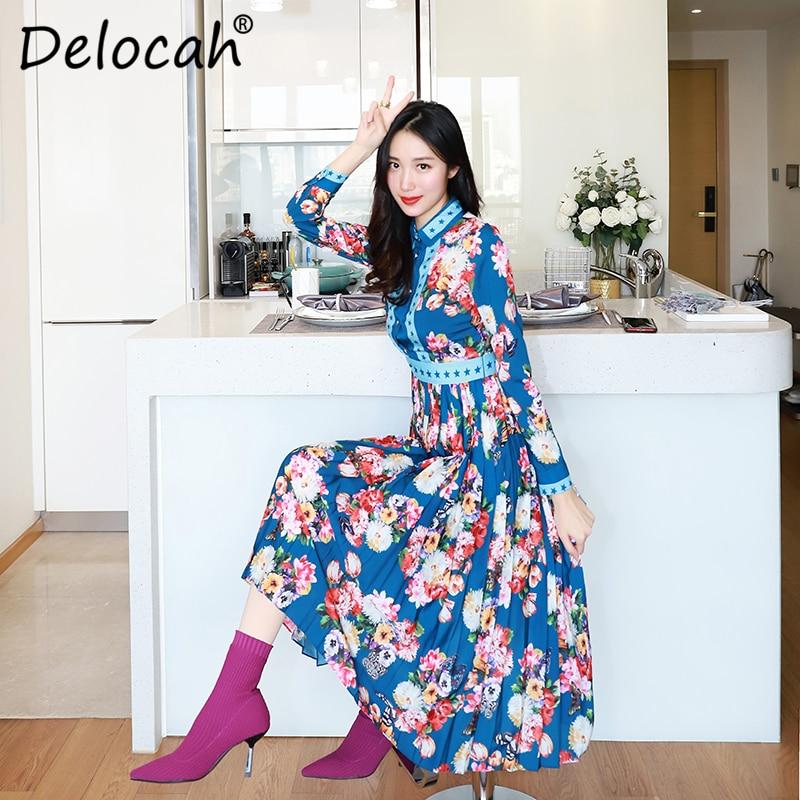 Femmes De longueur Créateur Dame Delocah Fleur Piste Printemps D'été Moderne Imprimé Slim Robe Genou Manches Multi Décontracté Longues Mode À Robes dpggCY