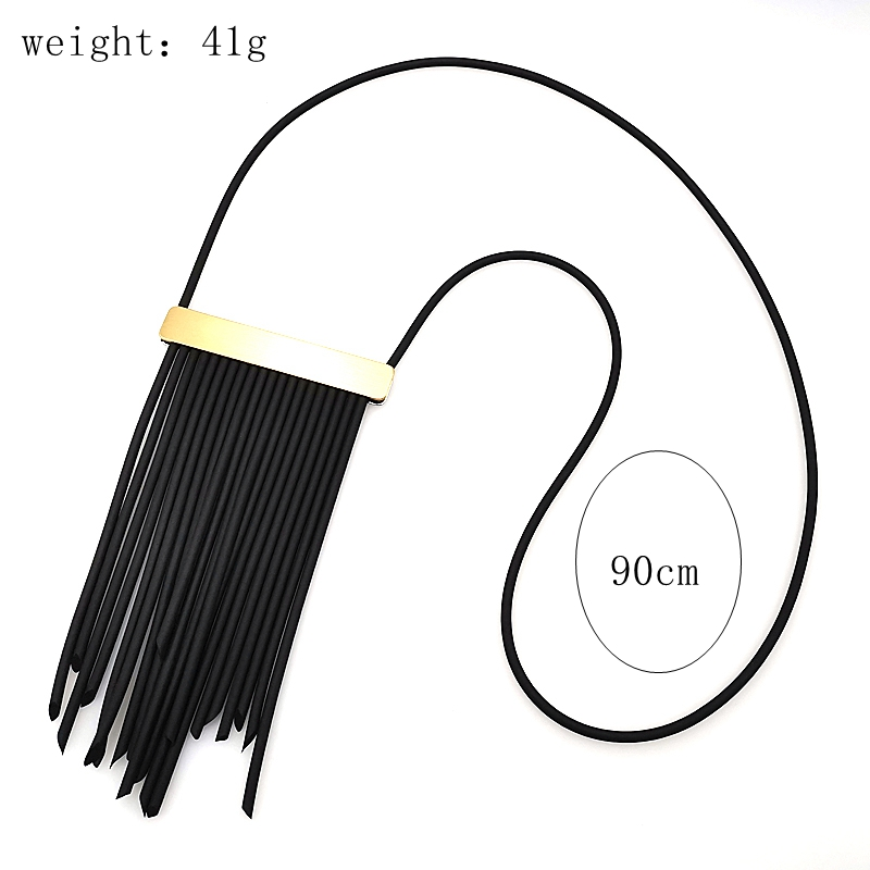 Купить с кэшбэком YD&YDBZ Hand Rubber Leather Necklace Tassel Pendant Necklace Sweater Chain Necklace Rose Gold Accessory Women Fashion Jewellery
