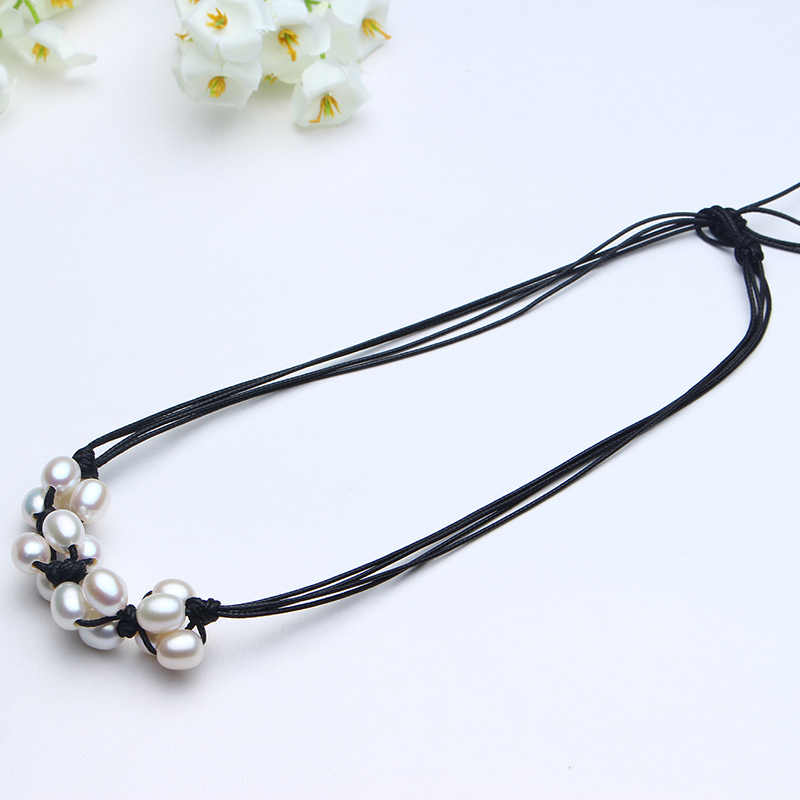 New Style Of 2017 Chocker Necklace 8-9mm Natural Freshwater Pearl Pink Purple White AAAA Fashion Design DIY Beautiful Necklace