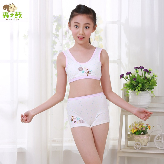 New Girl Cotton Underwear Set Training Bras Vest and Boxers Girls underwear  sets Undies Puberty Teenagers Student Sport Set e56e0fcdc