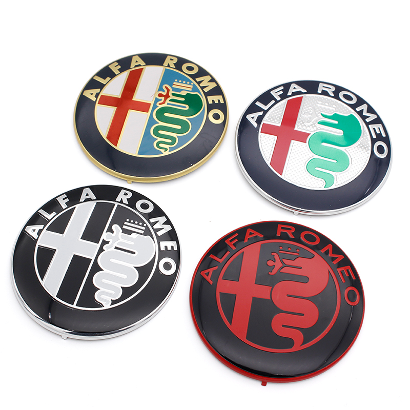 100pcs lot 74mm Black white ALFA ROMEO Car Logo for Mito 147 156 159 166 Giulietta