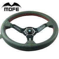 Mofe 350mm 14 Inch Deep Dish Real Leather Drifting Steering Wheel Racing Car Steering Wheel