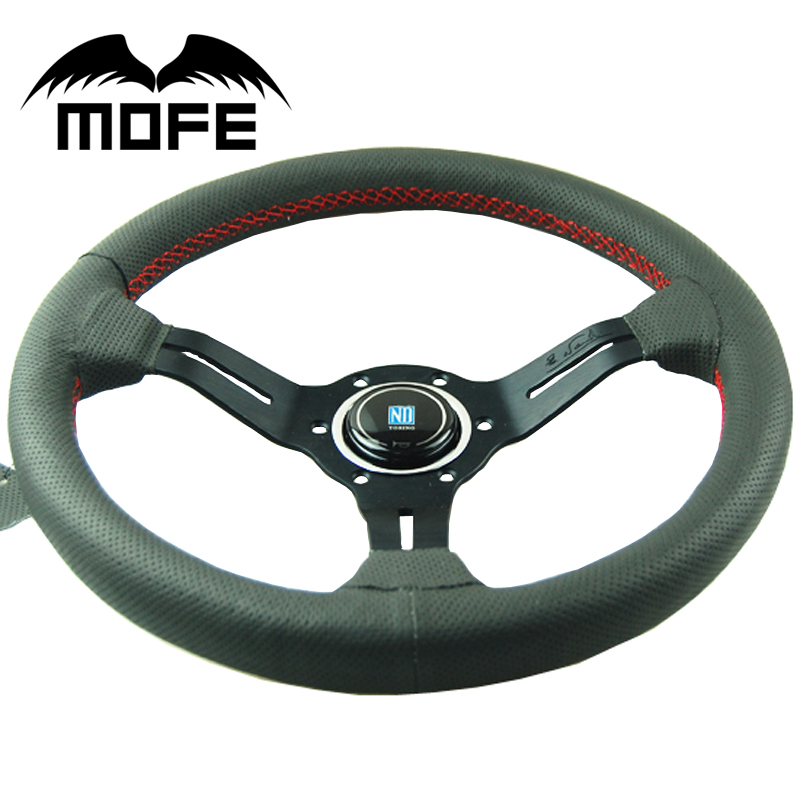 MOFE 330mm Steering Wheel Deep Dish Real Leather Drifting Steering Wheel Universal