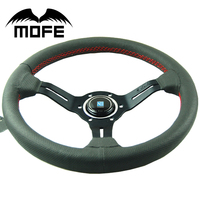 MOFE 330mm Steering Wheel Deep Dish Real Leather Drifting Steering Wheel Universal