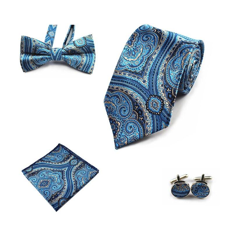 Ricnais 4PCS Silk Mens Tie Set Bule Red Floral Pocket Square Cufflinks Bowtie Necktie Set Suit Male Business Wedding Hanky Ties