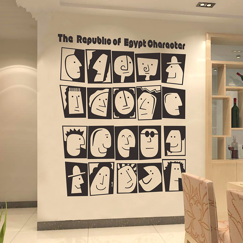 24 Creative Bedroom Wall Decor Ideas: Large Egypt Culture Character Wall Stickers Creative