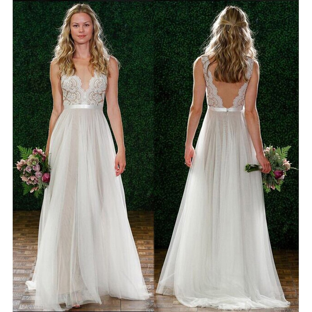 Lace and Tulle Wedding Dresses Open Back