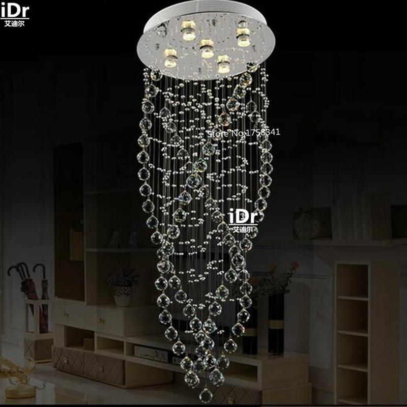 Duplex LED bague lumière escalier lampe en cristal vis de façon créative restaurant lustres Rmy-0486