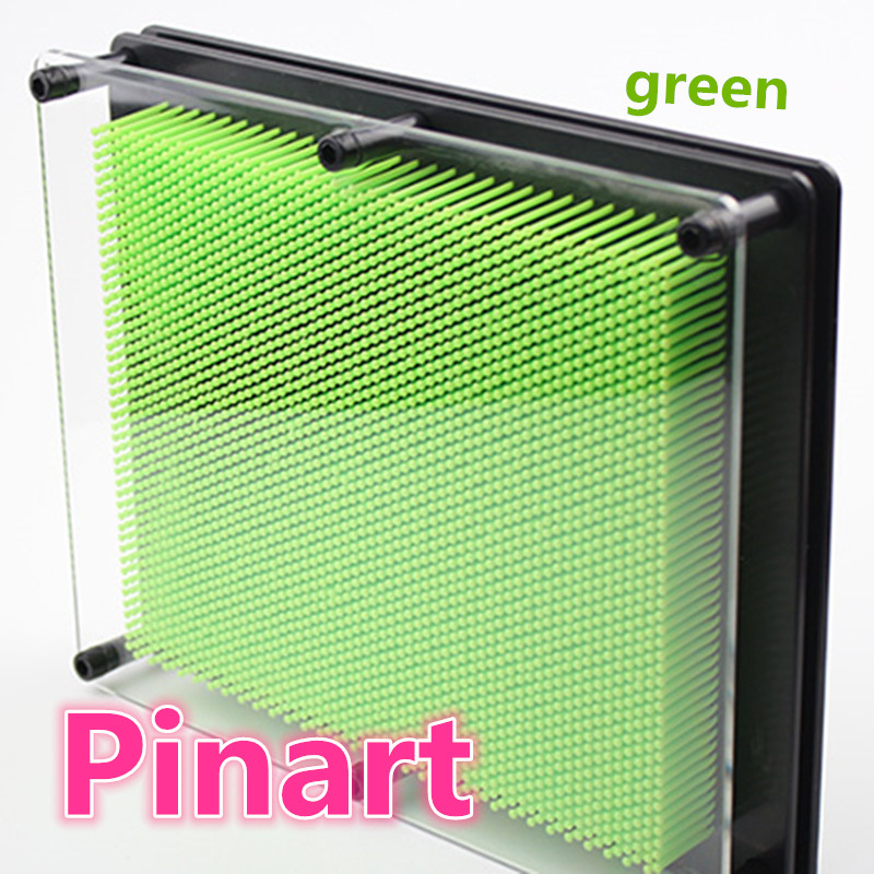 1pcs green Pinart plastics needle carving 3D clone fingerprint fingerprint needle painting autumn creative Valentine's Day gift plastic toy funny game pinart 3d clone shape pin art shoumo variety colorful needle child get face palm model 1pc free shipping