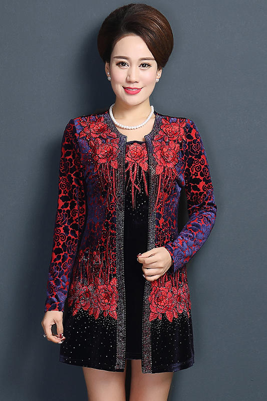 New Brand Plus Size 5XL Middle-Aged Women Coats Embroidery False Two-Piece Jacket Coat Print High-Grade Jackets And Coats W361