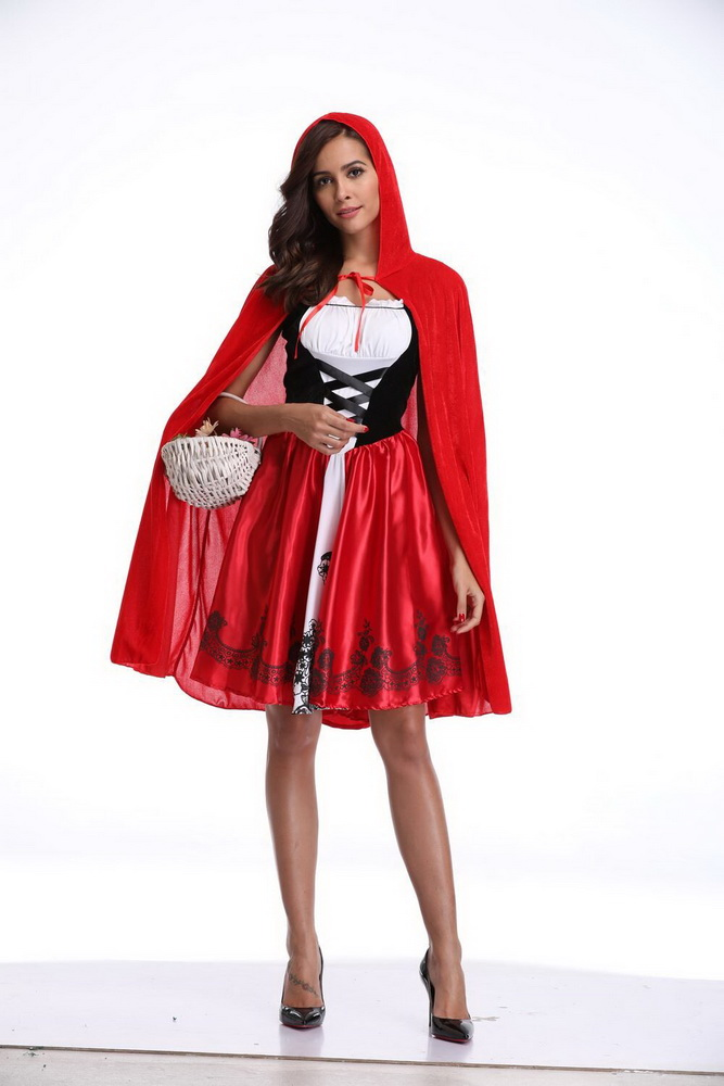 OKAYOASIS Free Shipping 2018 Newly Adult Little Red Riding Hood Costume  Sexy Women Halloween Red Cap bc1020a72756