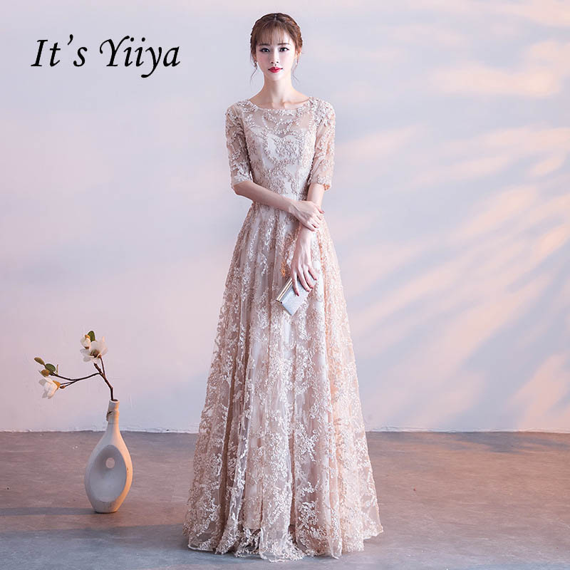It's YiiYa Half Sleeves Appliques O-neck Elegant Tulle Flower Zipper Luxury Party Formal Dress Floor Length Evening Dress LX064