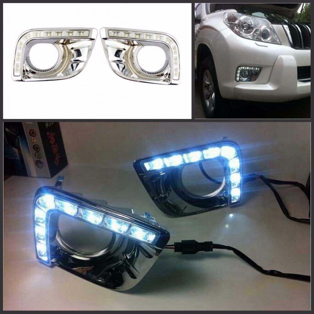 ФОТО Turn Off Style Relay Waterproof 12v CAR LED DRL Daytime Running Lights with Fog Lamp Hole for toyota Prado 2010- 2013 Free Ship