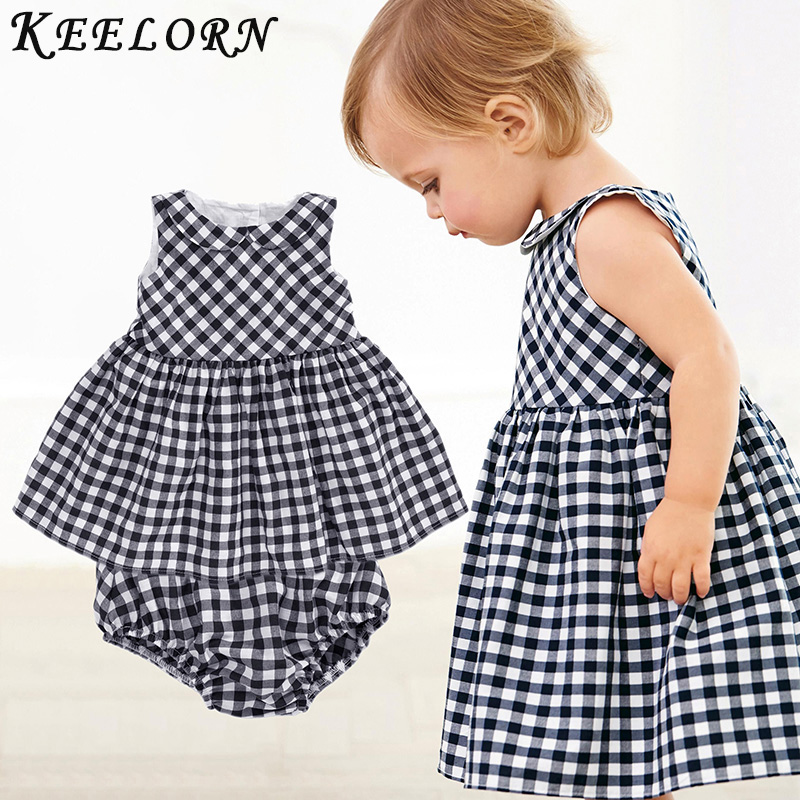 Keelorn Baby Girls Dress 2018 Casual Plaid Sleeveless Turn-down Collar Princess Dress + Plaid shorts 2pcs Kids Clothing Sets slim fit turn down collar colored plaid lining solid color shirt for men