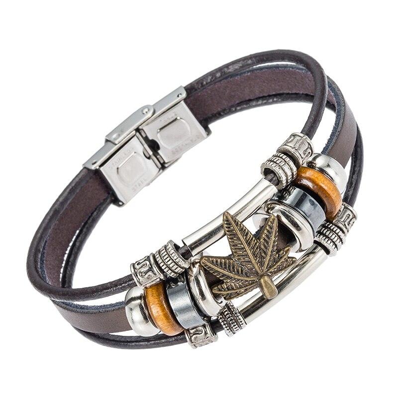 Hoja de arce de la vendimia pulsera del encanto con cierre de acero ...