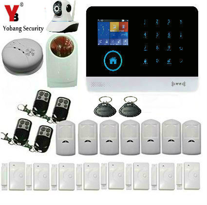 Yobang Security Wireless Home GSM Alarm,Intelligent APP Andriod/IOS GSM Alarm system With IP Camera Smoke Detector Sensor g90b plus home security gsm alarm system with gprs wireless home alarm system support andriod ios app collocation alarm sensor
