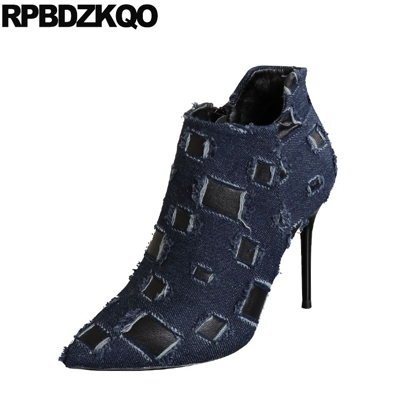 Shoes Blue Denim Boots Booties Exotic Dancer Sexy Women Black Extreme High  Heel Fetish Pointed Toe Jeans 2018 Ladies Stiletto