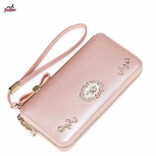 Just Star Brand New Design Fashion Embroidery PU Women Leather Girls Ladies Long Zipper Wallets Cards Holder Coin Purse Clutches