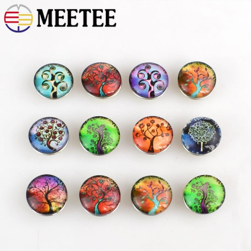 Meetee 20pcs Mixed Tree Style 18mm Round Glass Snap Buttons Fit s Bracelets Xinnver Jewelry or Necklace AP2298 image