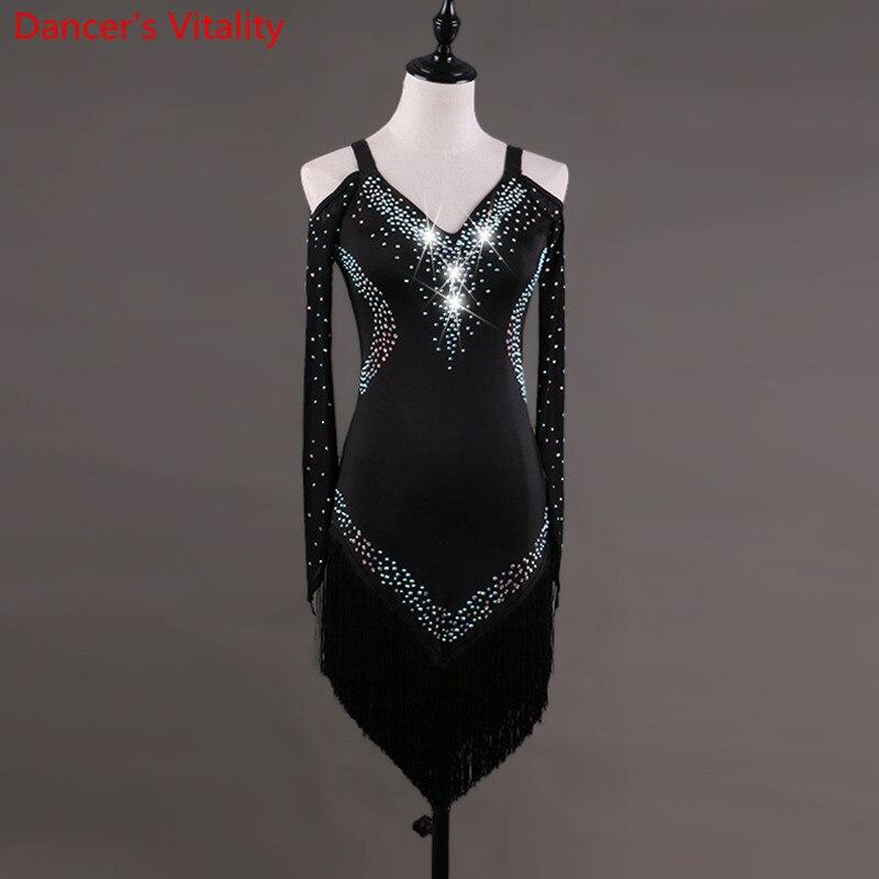 Custom made Latin Dance Dress Women Girls Rumba Cha cha Skirt Ballroom Competition Costume Clothing Diamond