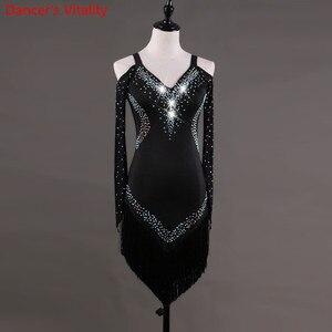 Image 2 - Custom made Latin dans elbise kadın kızlar Rumba Cha cha etek balo salonu yarışması kostüm giyim elmas dans elbise