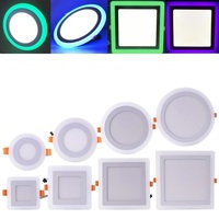 85 265V Ultra Slim 6W 9W 16W 24W Round Square Concealed Dual Color LED Panel Light