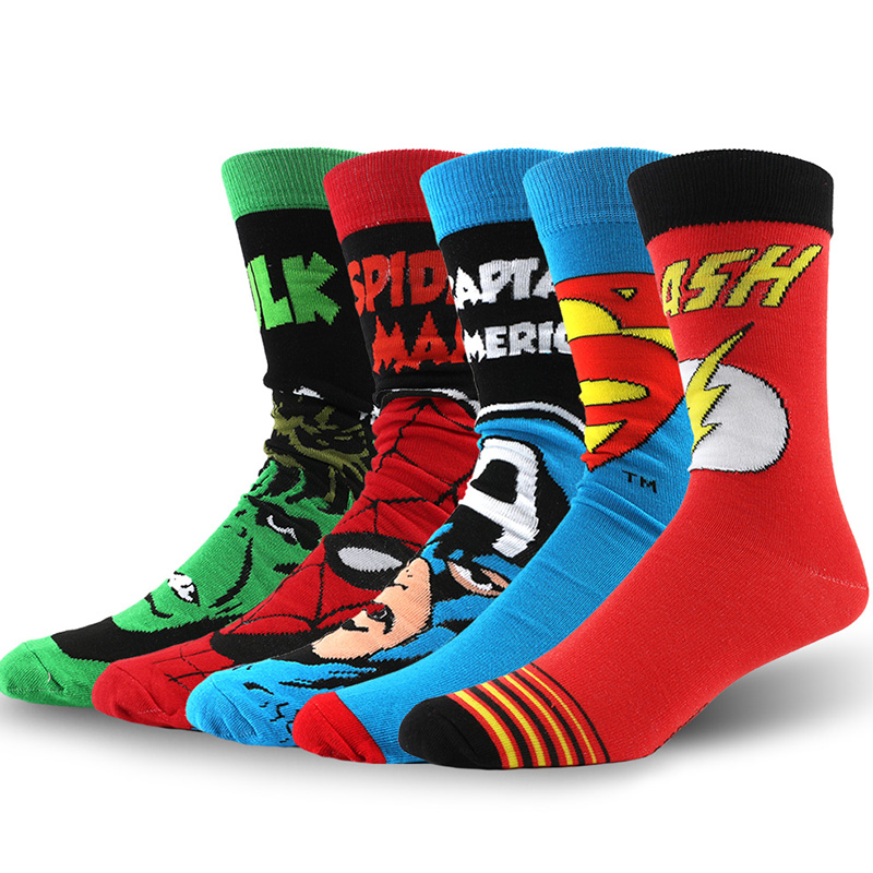 USA Fashion Cartoon Anime Superhero Socks Men Long Happy Art Funky Socks Crazy Cool Flash Superman Captain Avengers Socks Marvel