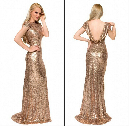 2015 Gold Mermaid Sequined Lace Bridesmaid Dress for Wedding Prom ...