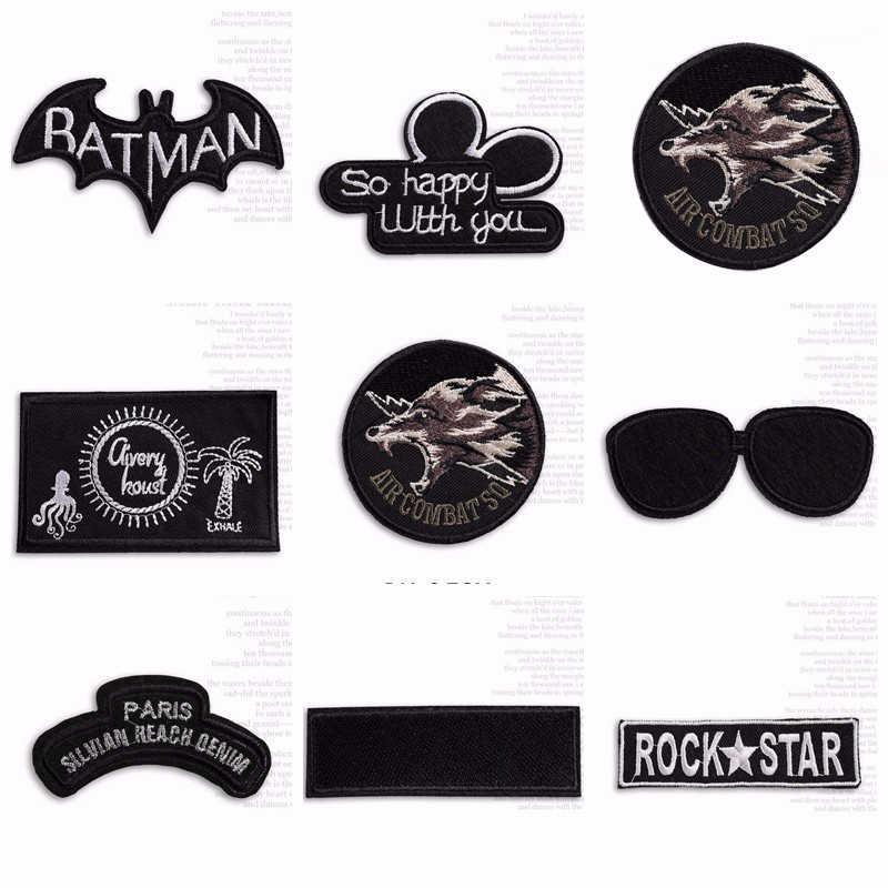 Punk Batman เย็บปักถักร้อย Patches Appliques เหล็กบน Patch Rock สติกเกอร์สำหรับเสื้อผ้า T เสื้อเสื้อกระเป๋าหมวก DIY หมาป่าป้าย