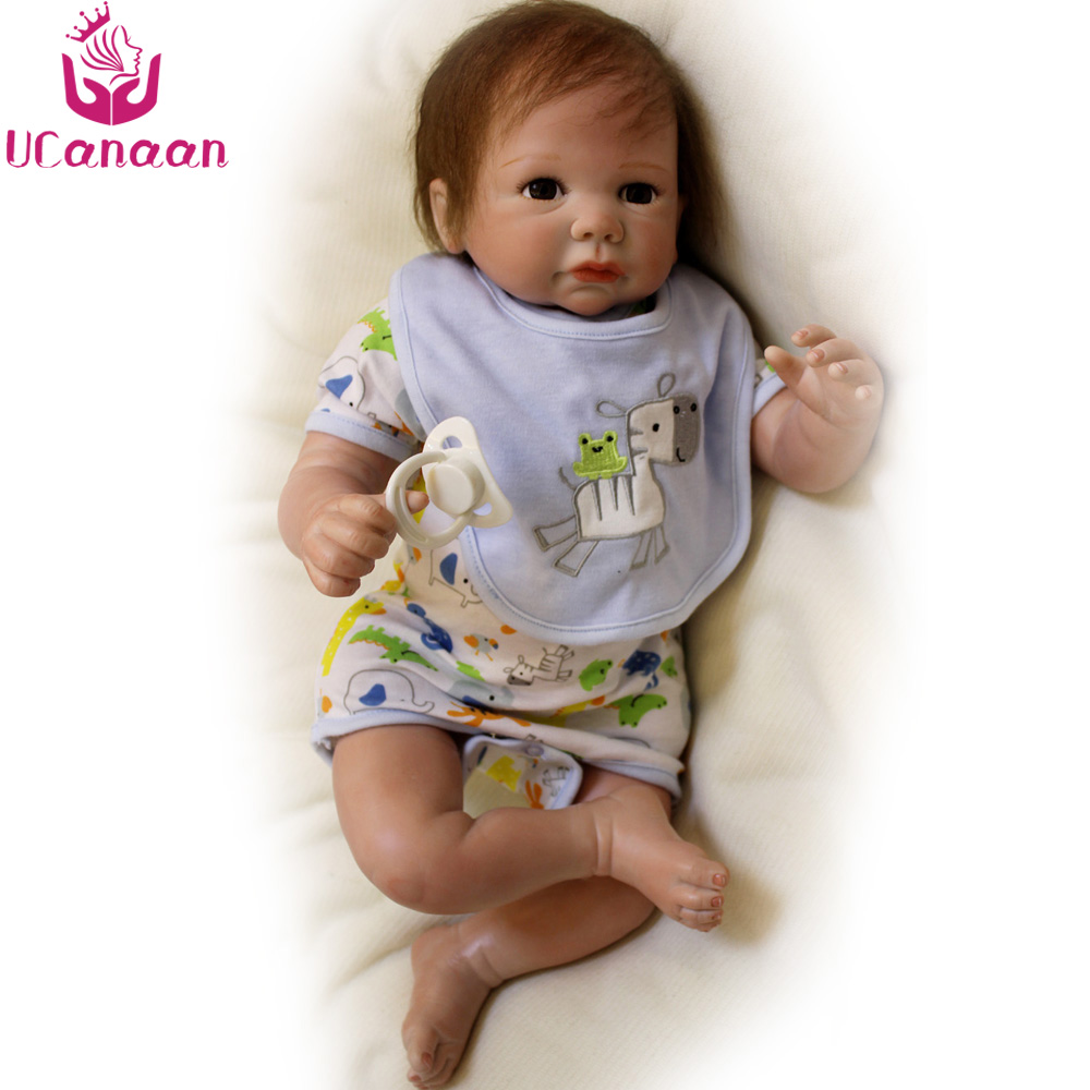 UCanaan 50CM Baby Born Silicone Dolls Reborn Handmade Soft Cloth Body Toys For Children Kawaii Boy Baby Newborn Boneca Reborn ucanaan 20 50cm reborn doll hair rooted realistic baby born dolls soft silicone lifelike newborn toys for girls xmas kids gift