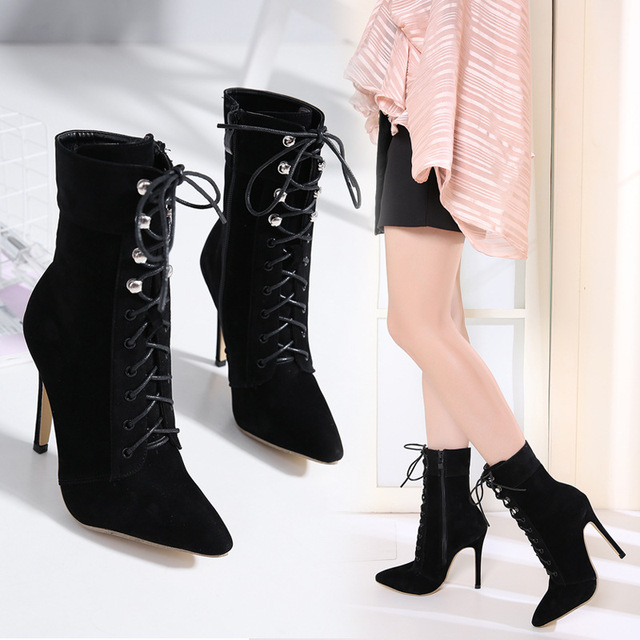 c31cd4e4f 2018 Shoes women Boots Sexy Black Women's Boots Pointed Toe Yarn Elastic Ankle  Boots thin heels High Heels Shoes Female Booties